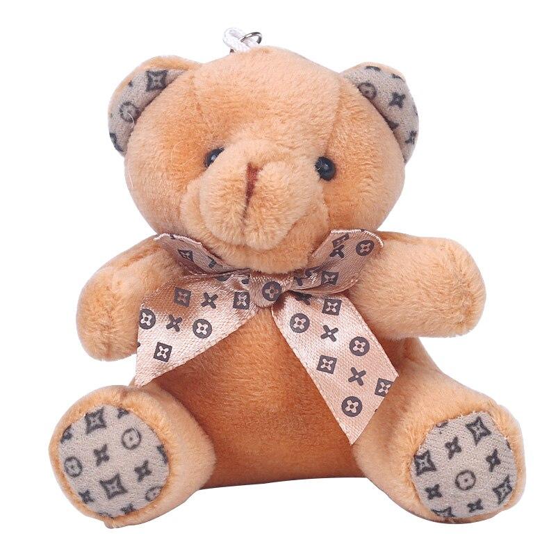 Cute Girls Plush Pompom Teddy Keychain Women Pompon Bowknot Bear Key Chain Female Bag Car Trinket Toy Jewelry Wedding Party Gift