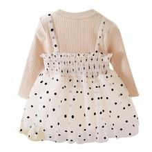 Autumn Casual O-Neck Regular Dress Baby Girl Long Sleeve Stitching Dots Printing Dress Skirt Cotton