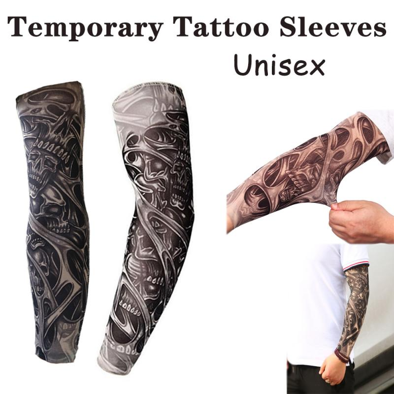 Outdoor Cycling Sleeves 3D Temporary Tattoo Printed Arm Warmer Stockings UV Protection Bicycle Arm Protection Sleeves Hot Sale