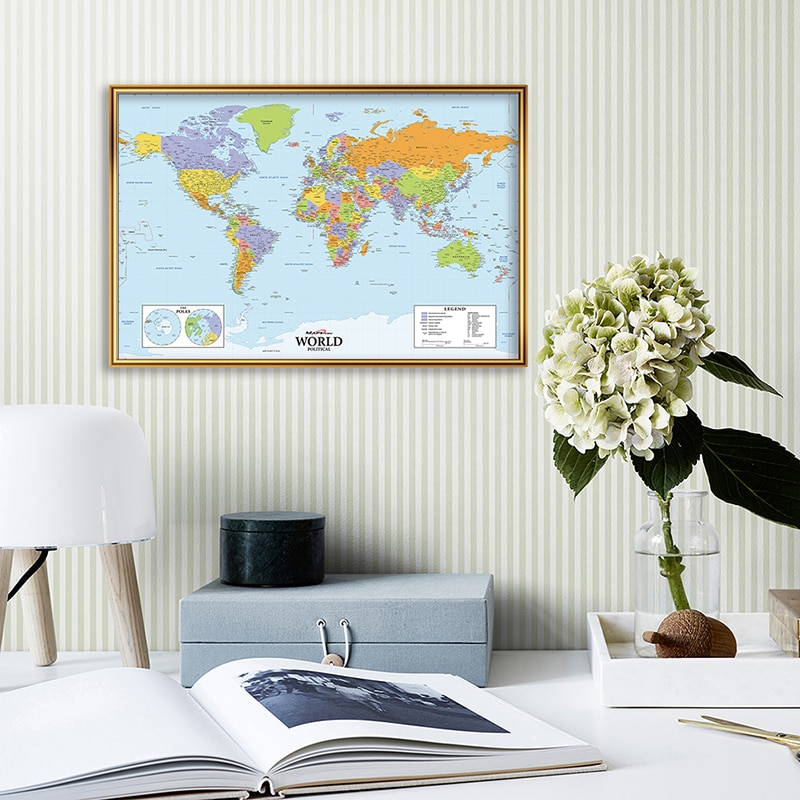 A2 Size The World Political Map Vinyl Spray Painting Canvas Waterproof Unframed for Home Decor Office School Supplies