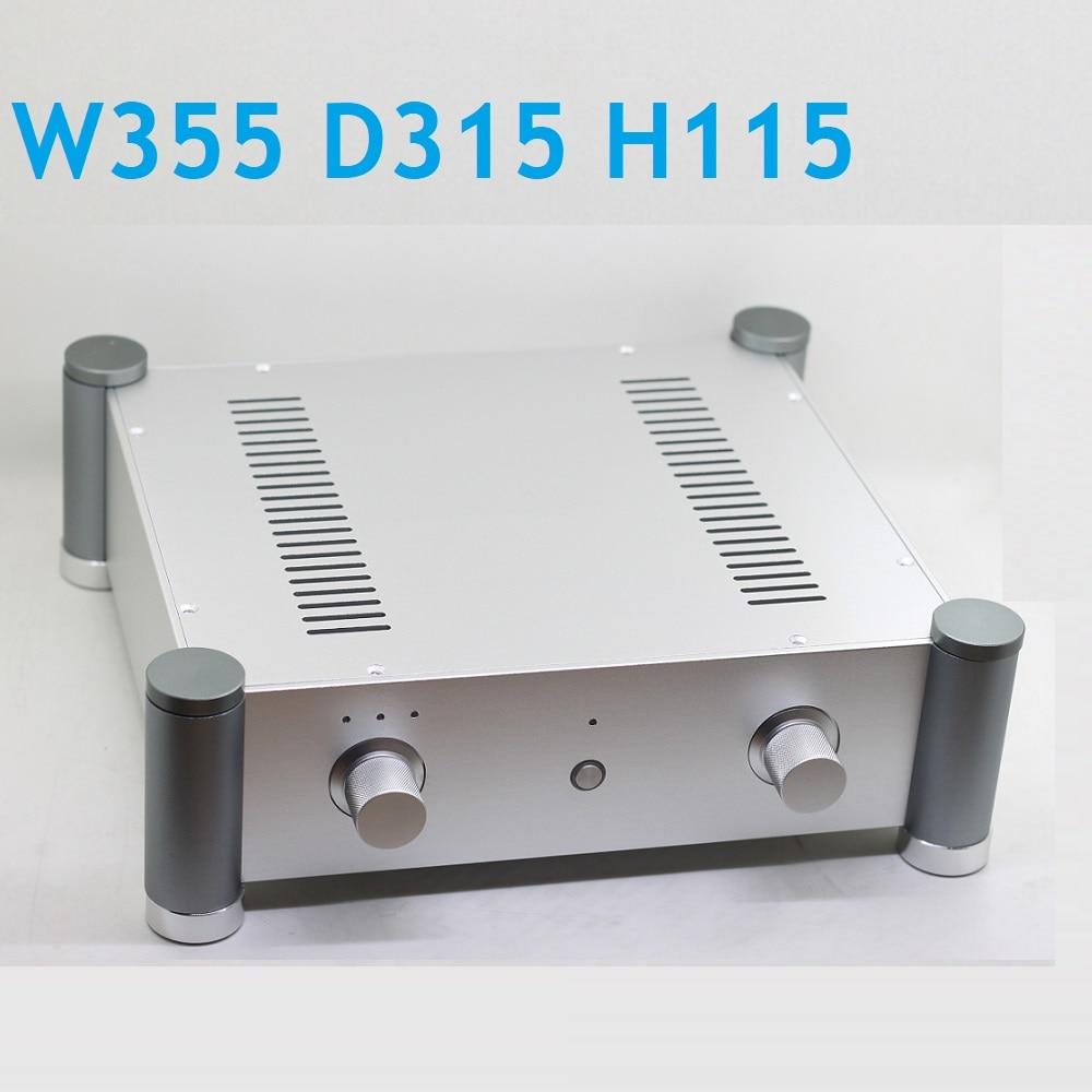 Größe D315 W355 H115 Silber Aluminium Netzteil Verstärker Fall Tube Preamp Box DAC Chassis DIY Aluminium Box AMP Chassis WA127