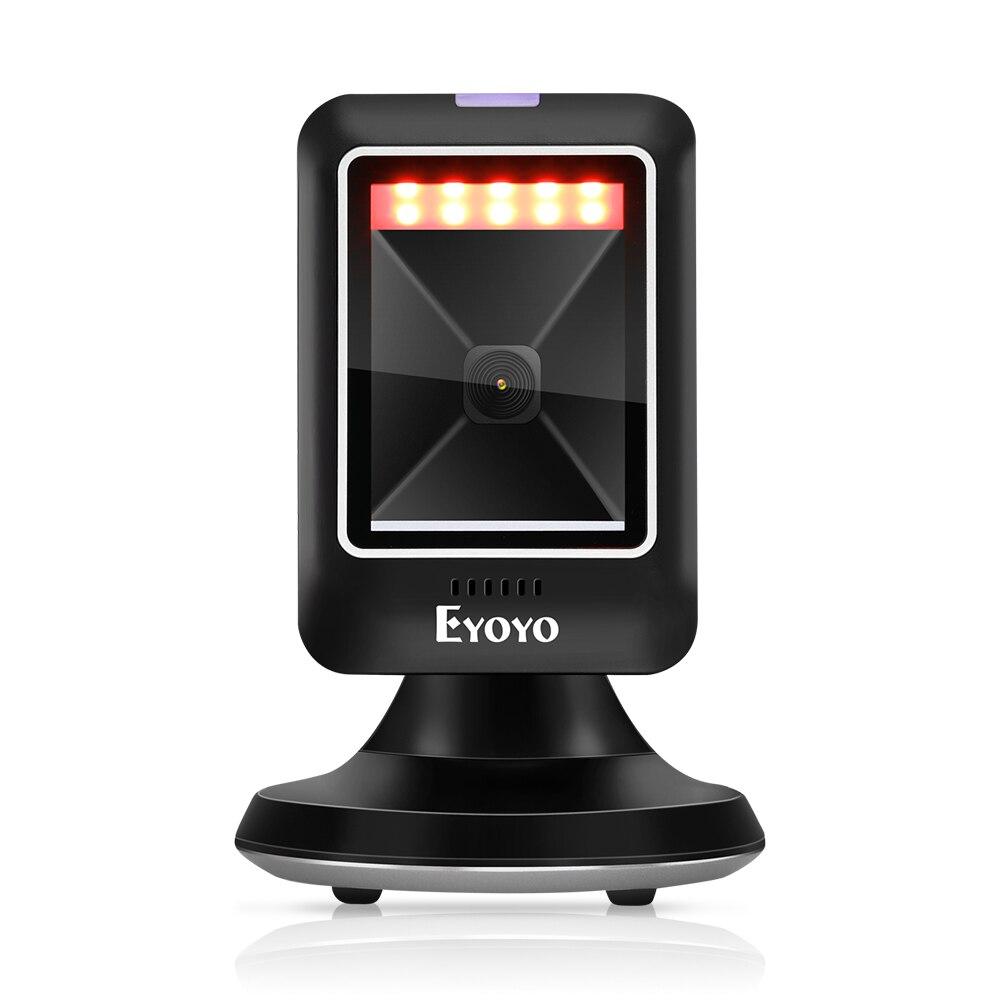 Eyoyo EY-6300 2D 1D Desktop Barcode Scanner Platform Scanner Automatic Sensing Scanning Hands-Free USB Wired Barcode Reader
