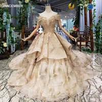 htl168 royal evening dresses with golden shiny lace special puffy skirt tassel women occasion dress long train custom size 2020