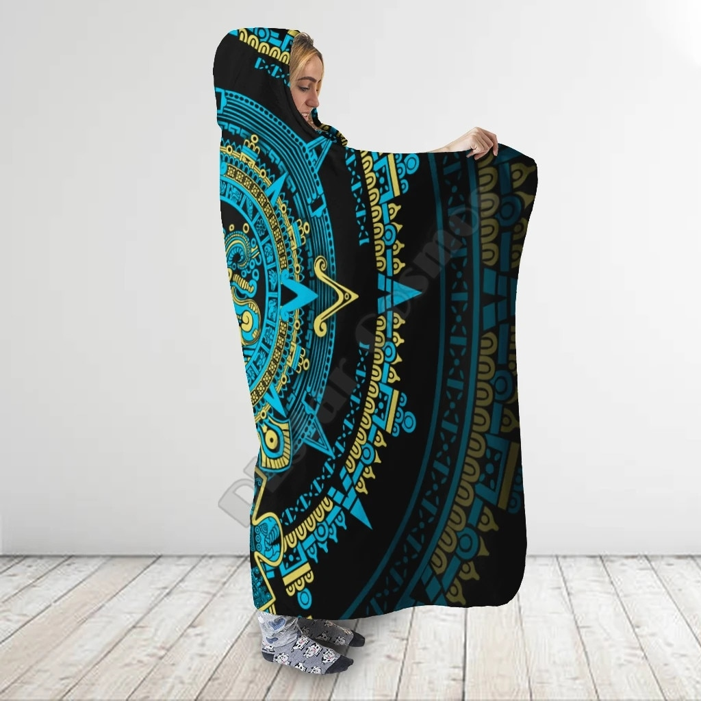 Aztec Mexican 3D Printed Wearable Blanket Adults For Kids Various Types Hooded Blanket Fleece blanket 01
