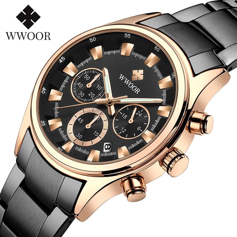 WWOOR Men Sport Quartz Wristwatches Mens Waterproof Luminous Chronograph Business Stainless Steel Quartz Watch Men With Box Pack