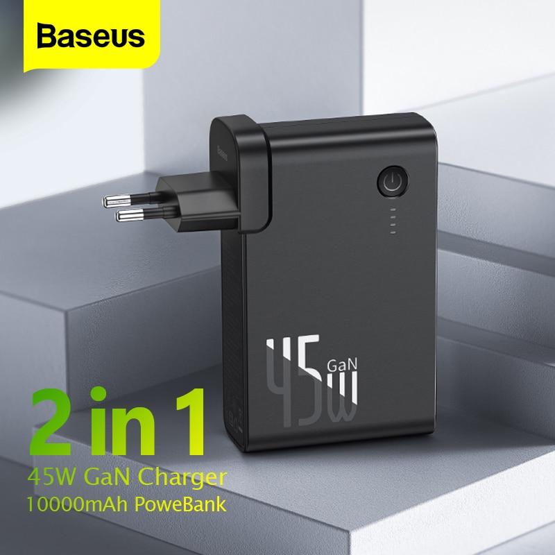 Baseus-شاحن USB 2 في 1 ، 10000 مللي أمبير ، GaN ، 2 في 1 PD QC 3.0 AFC ، شحن سريع ، متوافق مع iPhone Samsung Macbook Pro