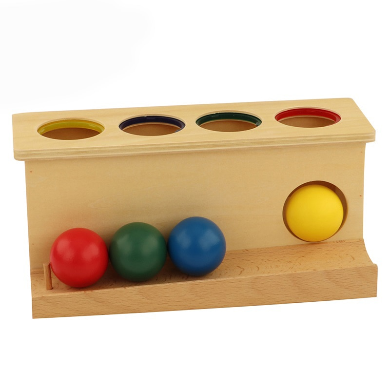 LT052 Montessori Sensorial Wooden Push Ball Develop Children's Independence And Sense Of Order Montessori Math Toys