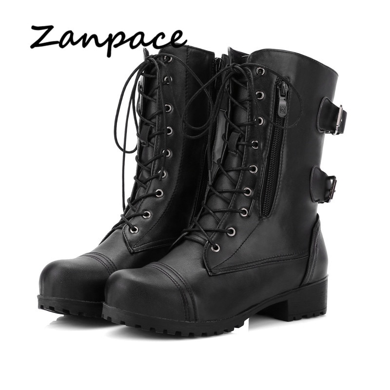 2020 New Women's Boots Winter Lace-Up Leather Women Shoes High Heel Boots Autumn Platform Motorcycle Boots Zapatos De Mujer prowow new high quality genuine leather lace up women winter boots sexy platform boots chunky heel boots botas mujer