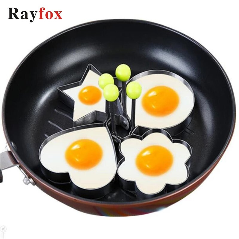 4 pcs/set Stainless Steel Egg Mold Pancake Rings Fried Egg Mould Shaper Kitchen Cooking Tools Kitchen Accessories Gadgets
