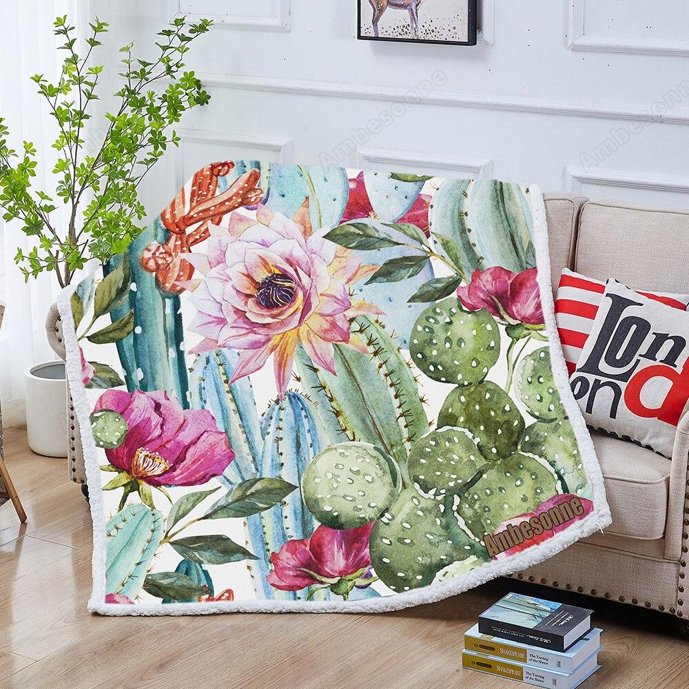 بطانية شيربا بنمط الصبار بالألوان المائية ، مفرش سرير ناعم ولطيف ، زخارف كرتونية ، نباتات عصارية