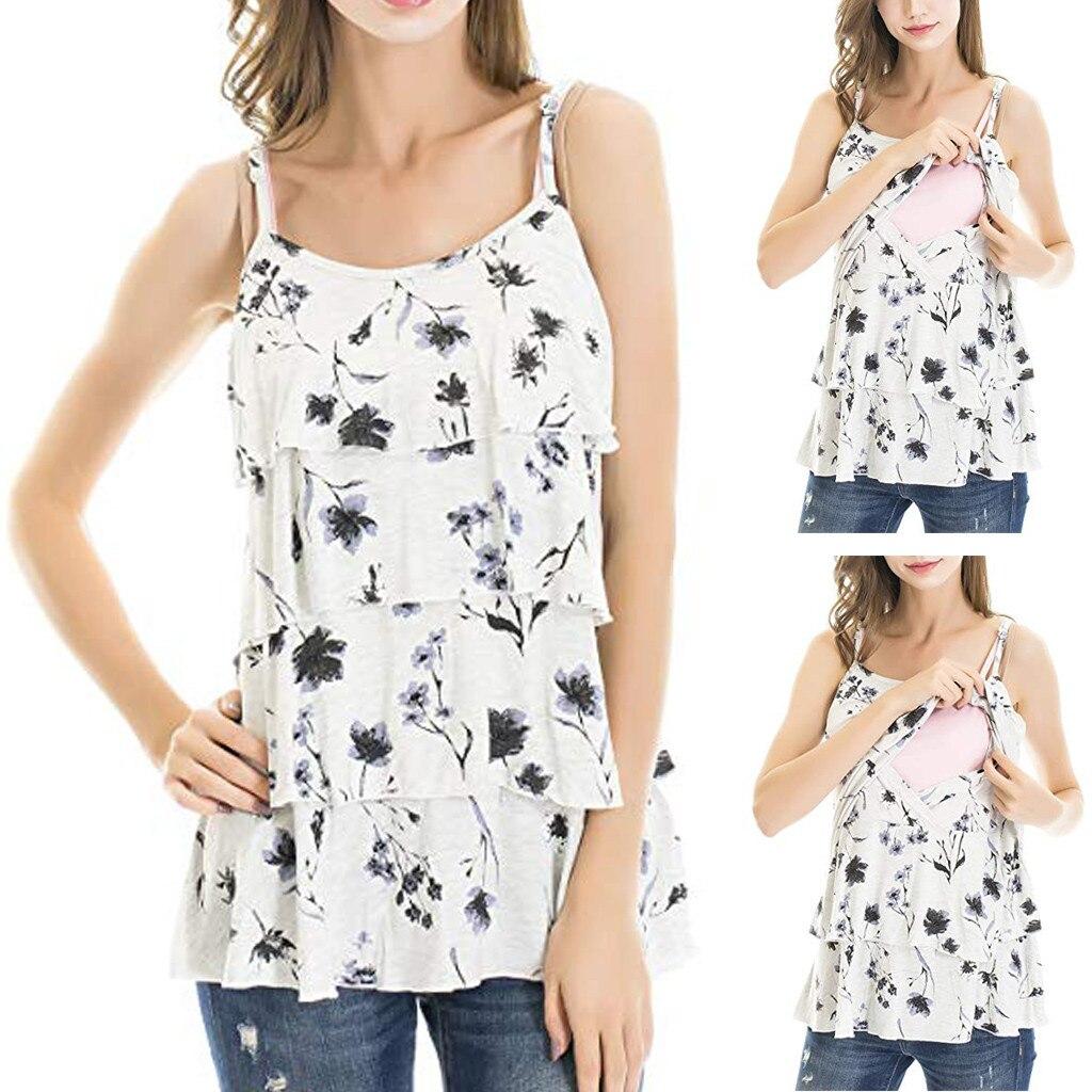 Frauen Mutterschaft Stillen T-Shirt Sling Floral Sommer O-ansatz Chiffon Print Pflege Tops Für Schwangere Frauen