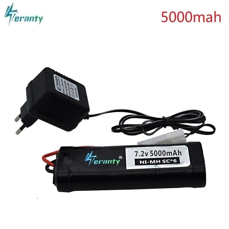 7.2V 5000mAh SC Ni-MH batterie et 7.2v chargeur pour RC jouets réservoir voiture avion hélicoptère avec Tamiya connecteurs 1/16 7.2v batterie