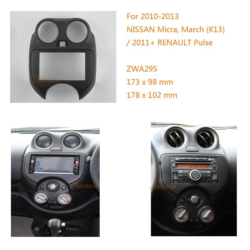 ZWNAV 11-295 Radio de coche Fascia estéreo cara facia rodean molduras de marcos para NISSAN Micra DE MARZO DE (K13) 2010-2013 RENAULT pulso 2011 +