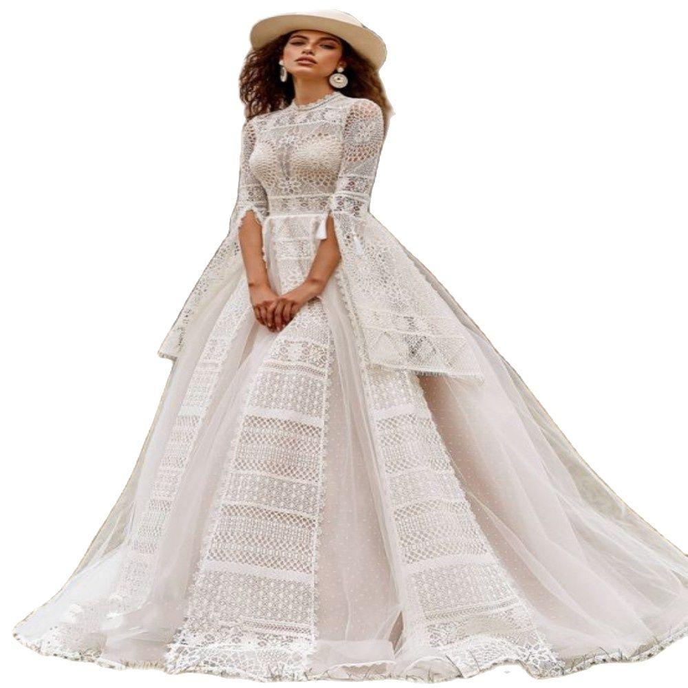 Promo Gorgeous Backless Princess Wedding Dress High Neck Long Flare Sleeve Floor Length Tassel Lace Bridal Gowns Vestidos De Novia