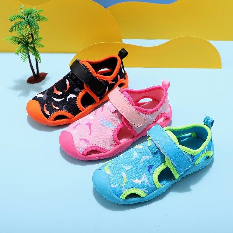 صندل مائي للأولاد والبنات ، لصيف 2020 ، نعل ناعم ، غير قابل للانزلاق ، أحذية خارجية ، أحذية مائية للشاطئ ، من 1 إلى 8 سنوات