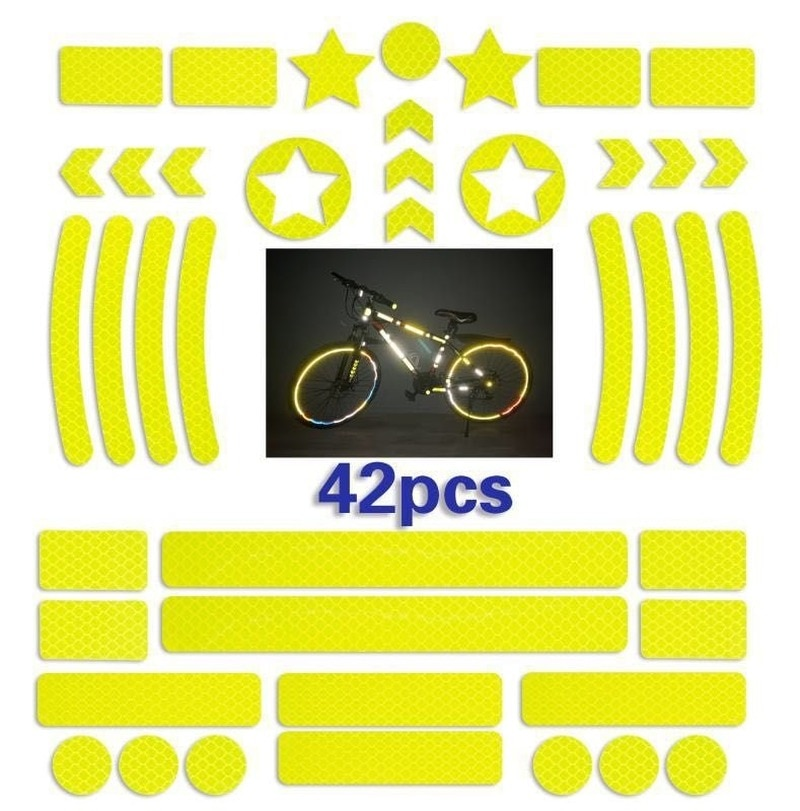 42 pçs corpo da bicicleta reflexivo adesivo noite segurança logotipo grade listra faixa de advertência mtb scooter capacete corpo reflexivo adesivo