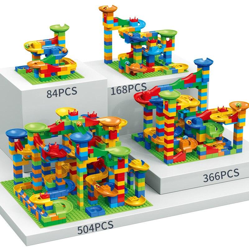 84-504PCS Size Marble Race Run Blocks Maze Ball Track Building Blocks Plastic Funnel Slide Assemble DIY Bricks Kids Gift
