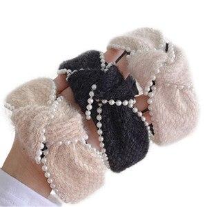 Pearls Winding Headbands for Women Winter Hair Accessories Solid Wool Velvet Hairbands Knot Ladies Outdoor Headdress Hair Hoop