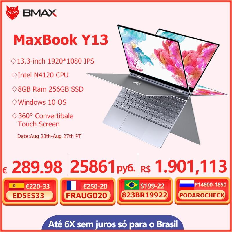 Promo BMAX Y13 360° Laptop 13.3 inch Notebook Windows 10  8GB LPDDR4 256GB SSD 1920*1080 IPS Intel N4120 touch screen laptops