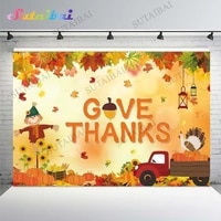 give thanksgiving day party truck harvest pumpkin autumn backdrop fall maple leaves sunflower scarecrow photo background