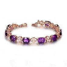 Luxury 18K Rose Gold Amethyst Bracelet For Women 100% Natural Oval Purple Crystal Gemstone Bracelets Zircon Diamond Hand Chain