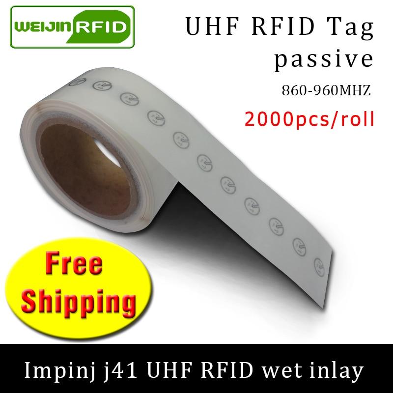 תג RFID UHF מדבקת Impinj J41 EPC6C רטוב שיבוץ 915mhz868mhz860-960MHZ 2000pcs משלוח חינם דבק פסיבי RFID תווית