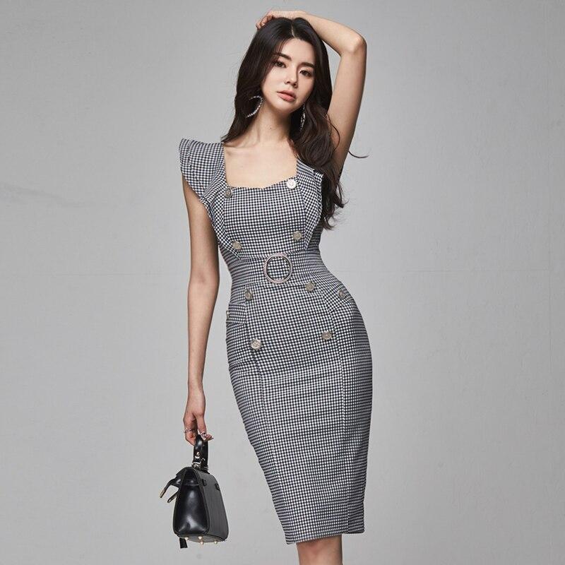 2020 New Elegant Office Lady Work Dress Women Vintage Plaid Gray Sleeveless Bodycon Formal Party Dress Summer Vestidos