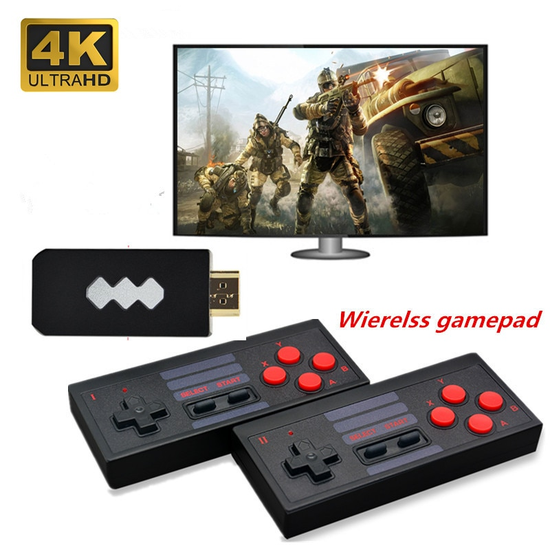 4K HD Video Game Console Built in 628 Classic Games support Dual Wireless Controller HD Output handheld game player