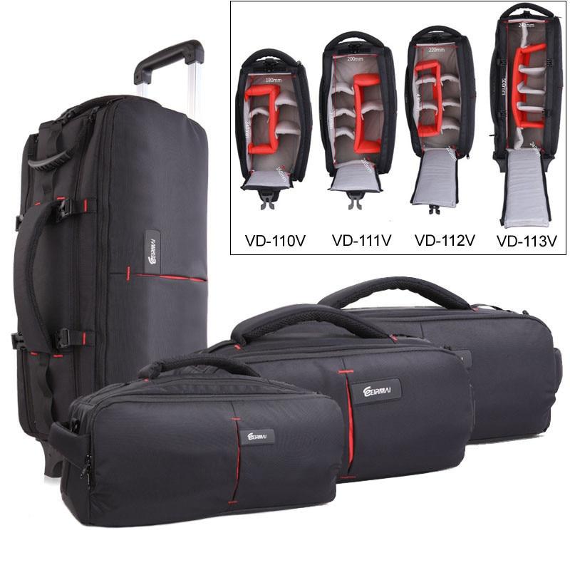 Photo Shoulder Camera Bag DSLR Nylon Bags Trolly Case Waterproof Shoulder Backpack Laptop Tripod Lens Padded Case Pouch