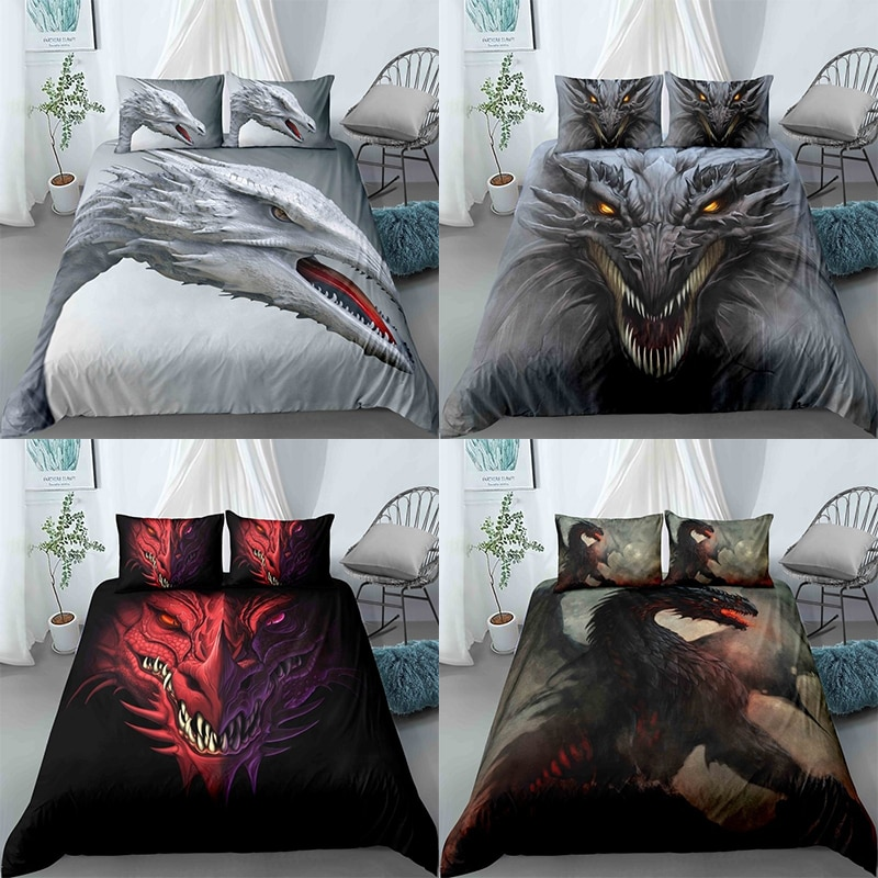 Fashion Design 3D Digital Cool Gothic Dragon Printed Bedding Set Hip Hop Style for Kids Boy Adult Duvet Cover Set Twin Full Size
