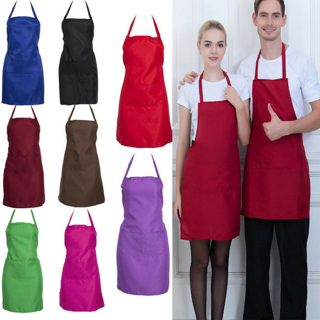 Vestido de delantal con babero ajustable para hombres, mujeres, restaurante, Chef, cocina clásica, con bolsillos, cocina, cocina, barbacoa