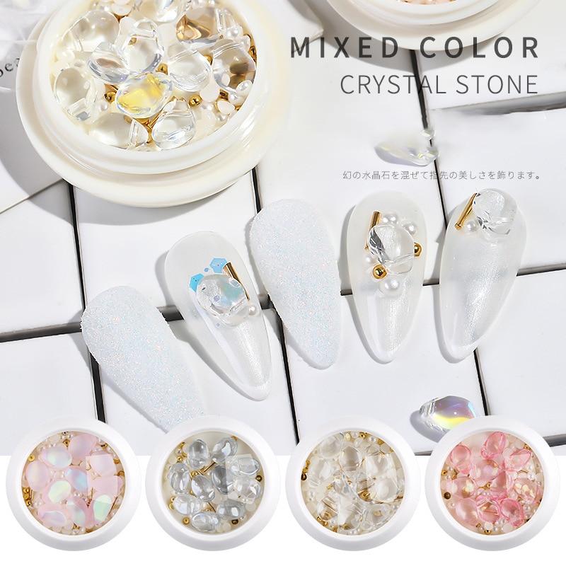 1 caixa de cristal prego strass bola aço/rebites 3d pérola unhas arte decorações unhas acessórios manicure diamante