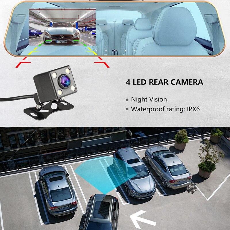 "Cámara Dvr para coche 4,0 ""HD 1080P cámara de visión trasera lente Dual cámara para salpicadero de coche Video espejo conducción grabadora de visión nocturna para coche"