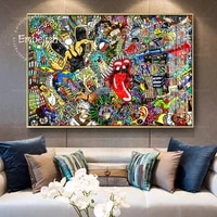 Collage sur un grand mur de brique  1 piece  images Graffiti de maison moderne  affiches murales de salon  peintures a lhuile sur toile HD