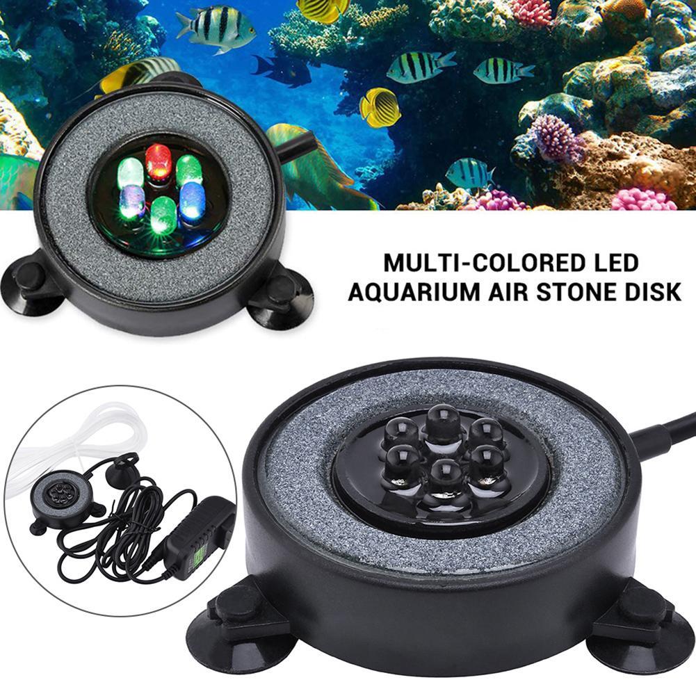 A mudança da cor conduziu a lâmpada redonda da decoração do bubbler da luz redonda do aquário do tanque de peixes é tomada, apropriada para todo o uso do tanque de peixes do tamanho.