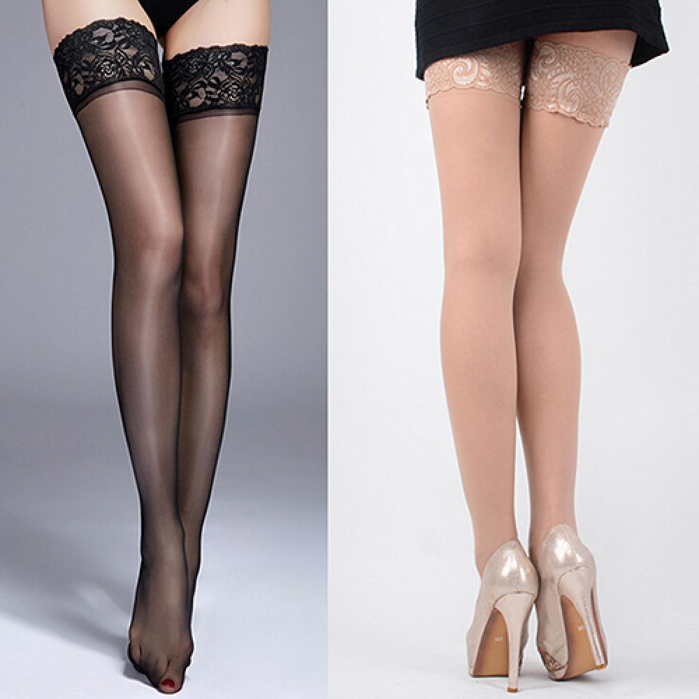 Medias largas De encaje con tirantes De silicona para Mujer, calcetines muy por encima De la rodilla, antideslizantes, Sexy
