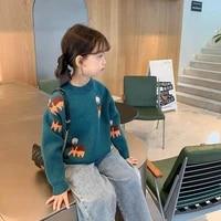 girls autumn new 2020 foreign style sweater baby kids korean cartoon knit sweater top girls jacket