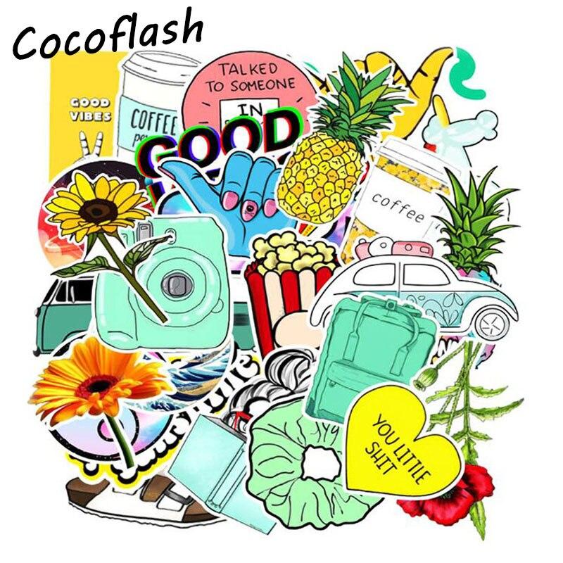 3 стиля, 31 шт., защита от солнца, цветок, медведь, звездное небо, VSCO, девушка, мультфильм, водонепроницаемые наклейки для холодильника, мотоцик...
