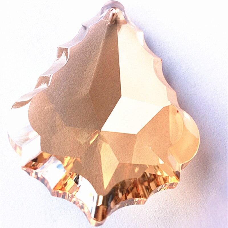 Venta caliente 10 piezas 63mm Champán (anillos gratis) araña de cristal hoja de arce/colgantes de Cortina de cristal/piezas de araña de cristal