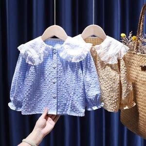 2021 Baby Girls baby Cotton  soild lace full T-Shirts shirt Cute Children kids Blouse Clothes