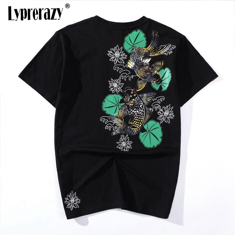 Lyprerazy chinês tatuagem estilo koi carpa peixe flor t camisas masculino magro solto unisex manga curta teesshirt harajuku