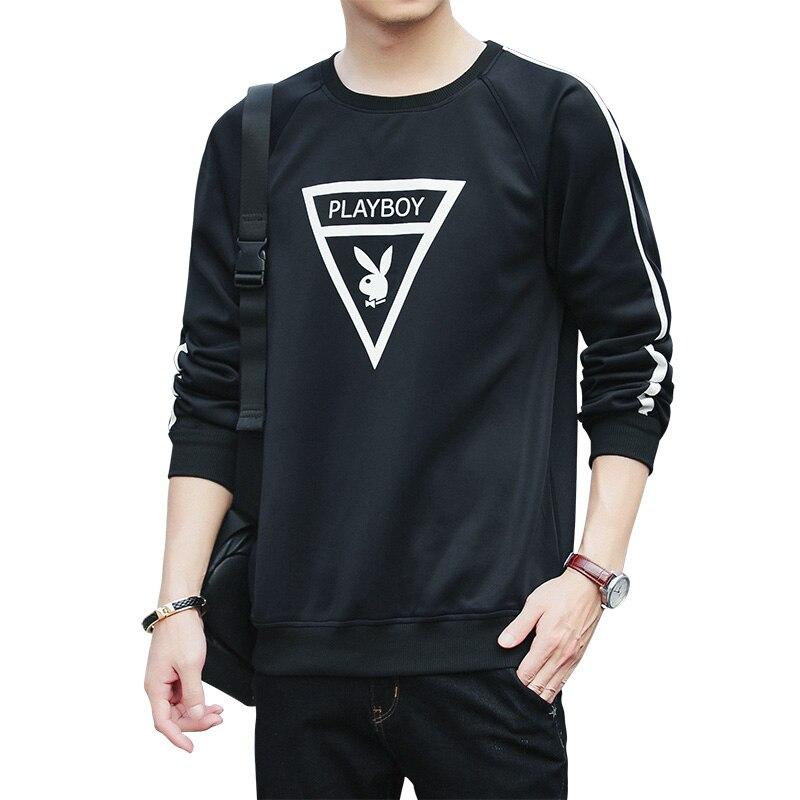 PLAYBOY nueva Sudadera con capucha de manga larga para hombre 2019 invierno Color sólido negro sudadera Streetwear Slim Hoodies hombres tamaño M-4XL