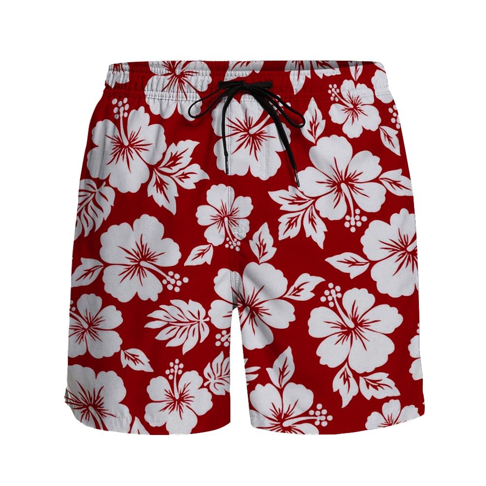 Casual Shorts Men Hawaiian Hibiscus Print Breathable Quick Dry Surfing  Beach Pants Resort Style Sports Shorts Running Shorts baan laimai beach resort