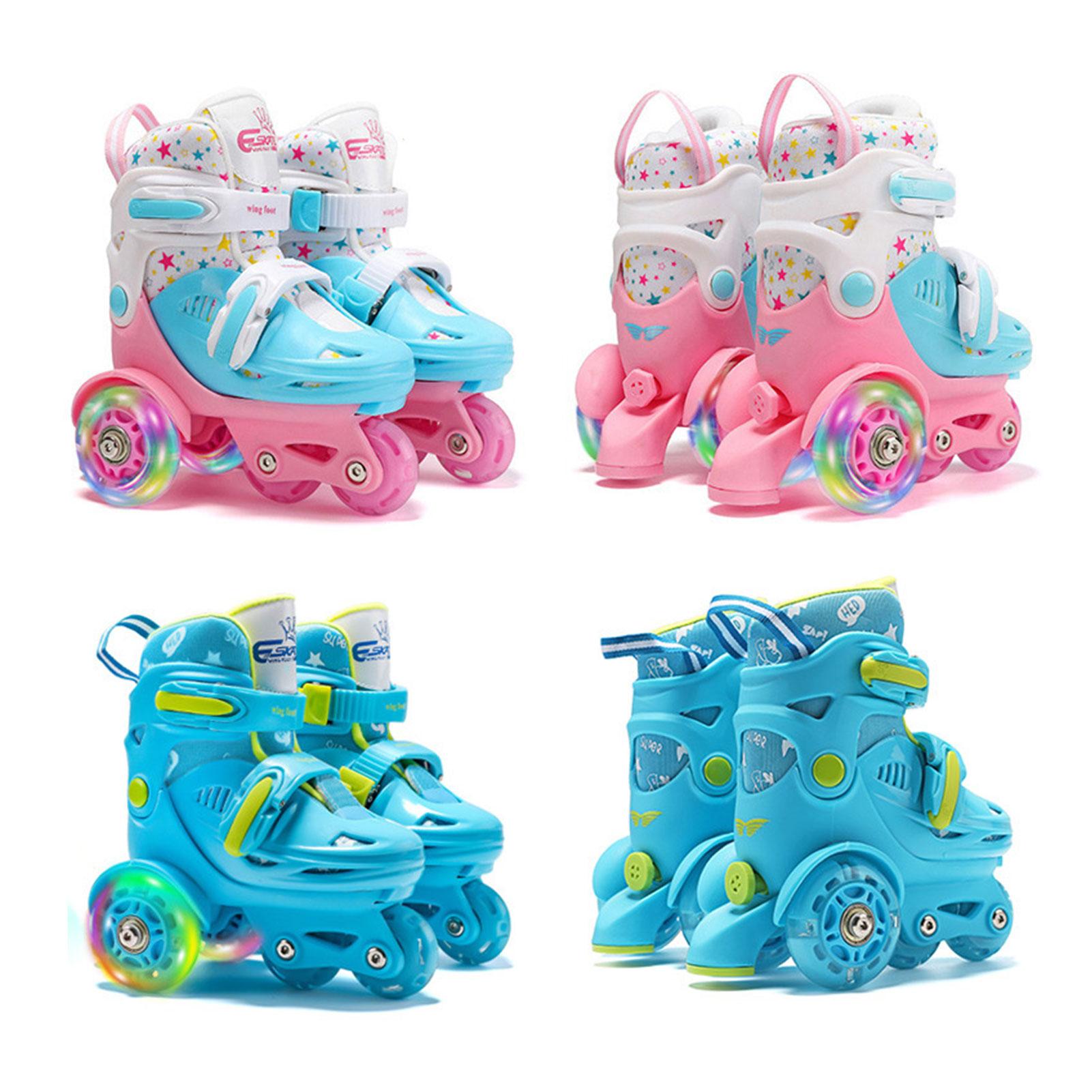 Регулируемые роликовые коньки, Эластичные полиуретановые роликовые колеса, двухрядные роликовые коньки для детей 2-8 лет, обувь для роликов