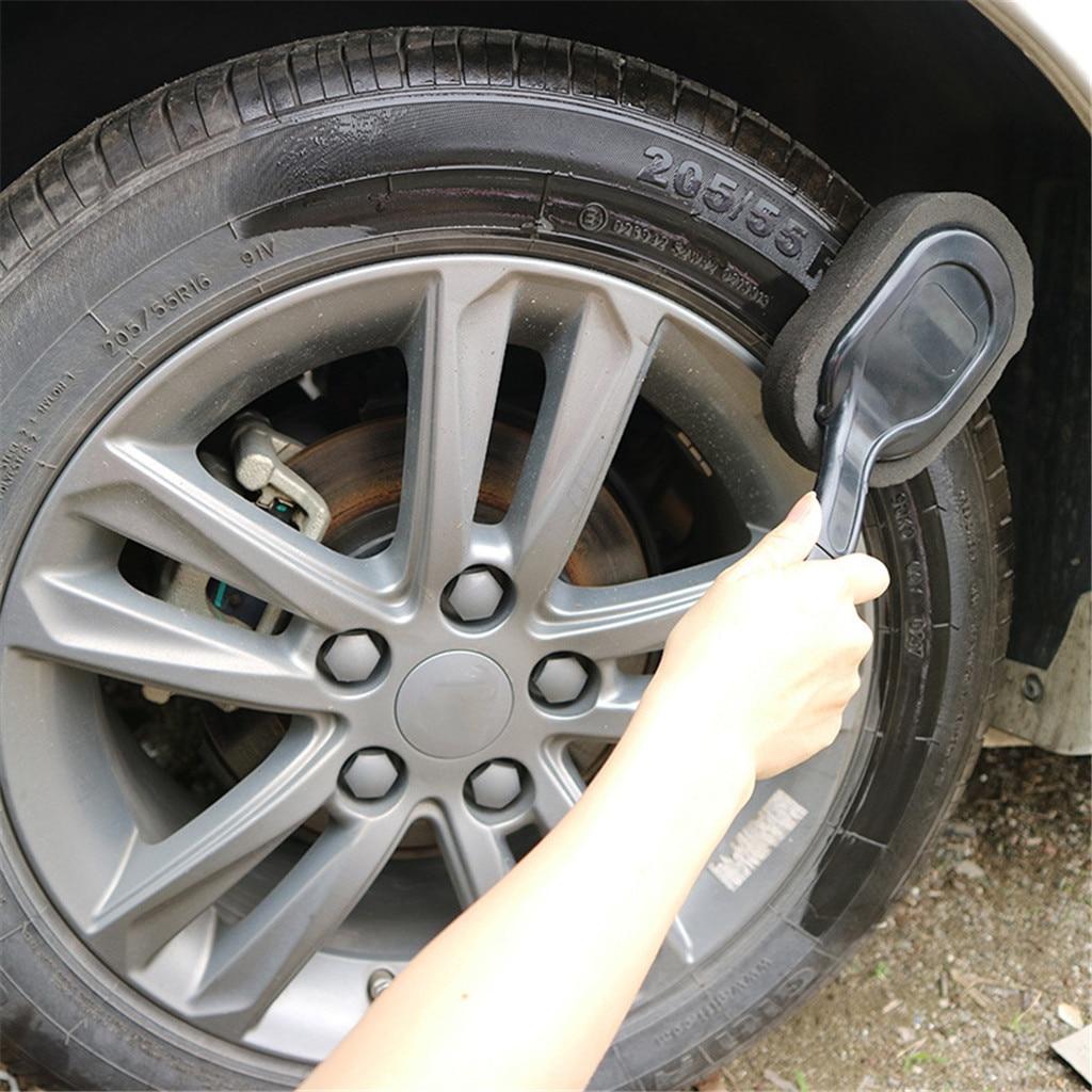 Cepillo de limpieza con esponja para lavado, pulido y encerado, rueda de neumático de coche y coche, mango largo