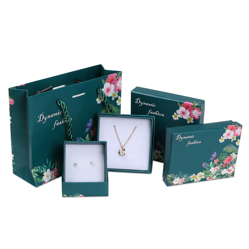 New1pcs moda ins verde escuro caixa de flores do vintage casamento dia dos namorados kraft saco de presente de papel jóias anel colar brinco caixa