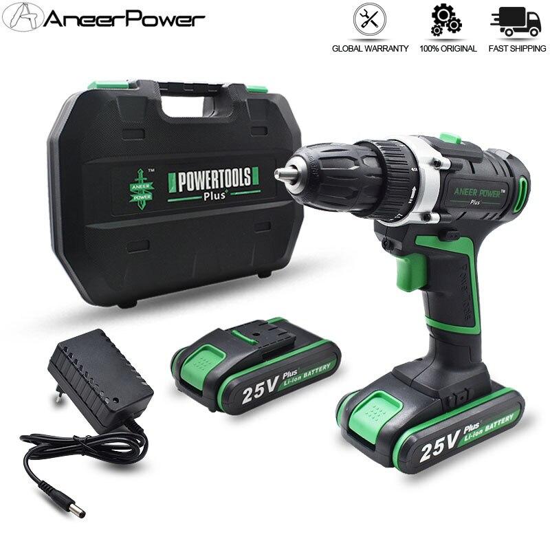 Taladro Inalámbrico de 25V Plus, taladro eléctrico de 2 baterías, Mini destornillador, herramientas eléctricas, herramientas de perforación, apriete y afloje el desatornillador