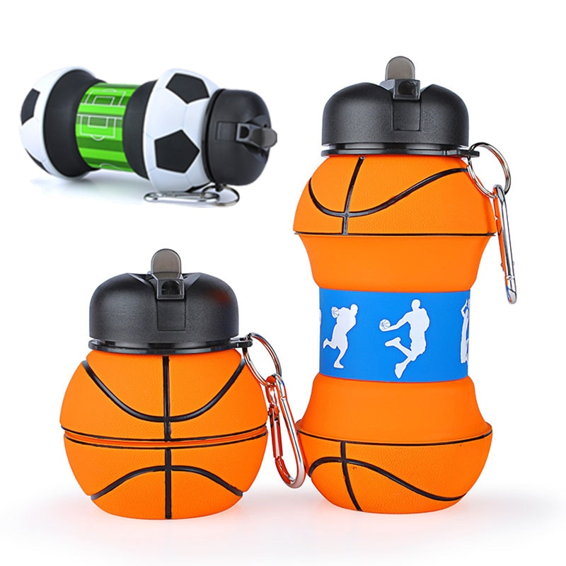 Sports Fold Water Bottle Football Basketball Tennis Leakproof Portable Silica gel Kettle Travel Offi