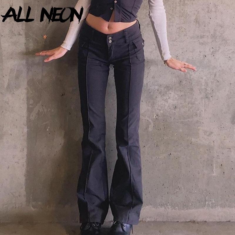 ALLNeon Indie Aesthetics Slim Low Waist Flare Pants E-girl Vintage Pockets Solid Y2K Pants Autumn 90s Fashion Black Trousers