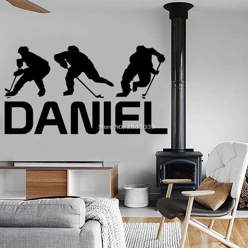 Hockey Wand Kunst Team Nach Name Hockey Aufkleber Hockey Wand Decor Heißer Verkauf Eis Hockey Vinyl Wand Aufkleber Hause Decoation LC1454